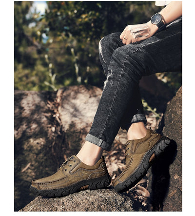 2019 New 100% Genuine Leather Men's shoes Comfortable Outdoor Casual Shoes High Quality Cow Leather Men Flats Plus Size 38-48