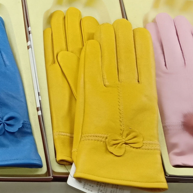 Real Genuine Leather Gloves Women Luxury Warm Sheep Skin Winter Girls Real Leather Yellow Glove Driving  Warm Ladies Glove