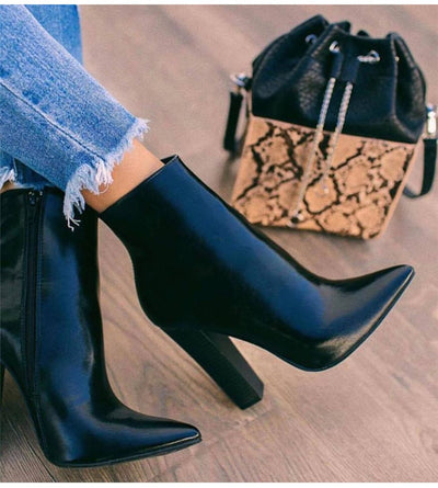 Eilyken 2020 New Winter Women Ankle Boots Fashion Pointed Toe Zip Square High Heels PU Leather Female Boot Black Party Shoes
