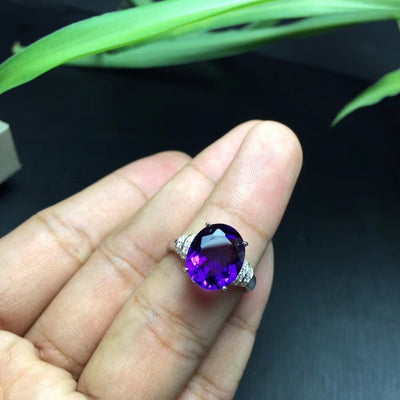 MeiBaPJ Natural Amethyst Gemstone Fashion Ellipse Simple Ring for Women Real 925 Sterling Silver Fine Charm Jewelry