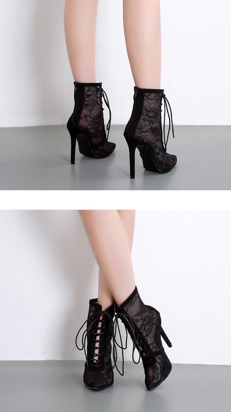 Eilyken Spring/Autumn Fashion Black Cross-tied  Boots Pointed Toe Lace-Up Hollow out Ankle Woman Boot sandals Thin Heels Shoes
