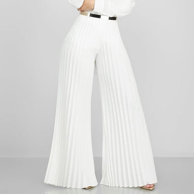 African Pleated Wide Leg Pants Office Lady Elegant Chic Casual Straight High Waist Long Trousers 2019Autumn Winter Women Fashion