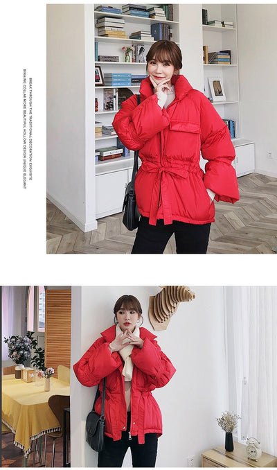 Women winter jackets parkas 2019 Fashion Thick warm Lantern sleeve tops jackets Slim solid sweet jackets for female