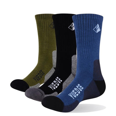 YUEDGE Brand High Quality Mens Cushion Cotton Crew Socks Breathable Comfort Men's Casual Socks Fashion(3 Pairs/Pack)