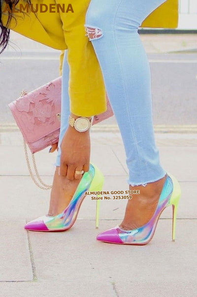 ALMUDENA Pink Pointed Toe Clear PVC High Heel Pumps 12CM 10CM 8CM Stiletto Heels Neon Yellow Heel Color Patchwork Wedding Shoes