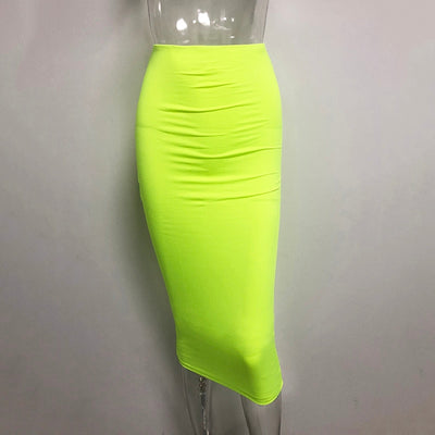 Double Layers High Waist Pencil Midi Skirt Bodycon Long Skirt Cotton Maxi Skirt White Summer Skirts Womens Saia Midi New