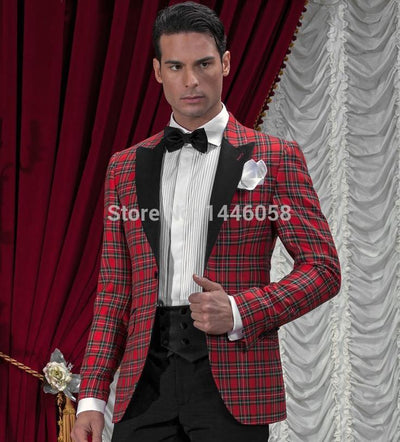2020 New Arrival One Button Classic Plaid Groom Tuxedos Groomsmen Men's Wedding Prom Suits Bridegroom (Jacket+Pants+Girdle+Tie)