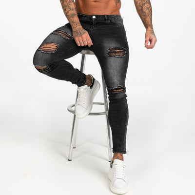 GINGTTO Dark Washed Black Jeans for Men Slim Fit Men'S Denim Jeans Casual Ripped Jeans Men Elastic Waist zm112