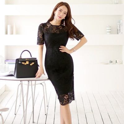 CINESSD Sexy Lace Bag Hip Party Robe Bodycon Dress 2019 Women Summer Korean Solid O-neck Short Sleeve Bodycon Dress Vestidos