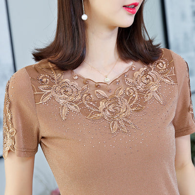 FGLAC Women's shirt New 2020 Fashion Casual short sleeve summer tops Elegant Slim hollow out lace shirt women tops and blousas