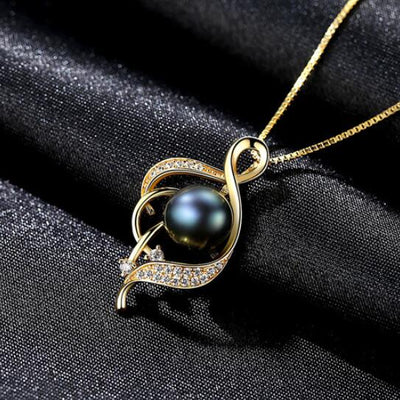 [MeiBaPJ]Real Freshwater Pearl Simple Personality Gold Pendant Necklace 925 Solid Silver Pendant Fine Jewelry for Women