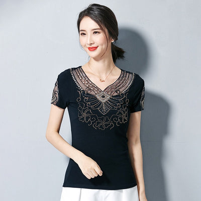 Women T-Shirt Casual short sleeve summer tops Elegant Slim Embroidered Hollow out Back t shirt 4XL Plus size shirt women tops