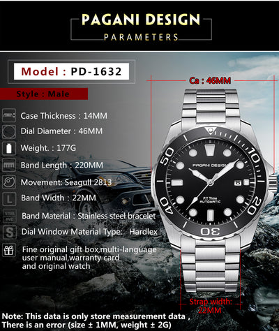 PAGANI DESIGN 2019 New Sport Business Stainless Steel Men Watches Luxury Brand Men Fashion Mechanical Wrist Watch dropshipping