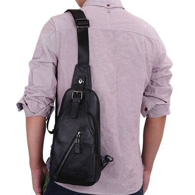 Men High Quality Leather Cowhide Fashion Chest Pack Sling Back Pack Riding Cross Body Messenger Single Shoulder Bag
