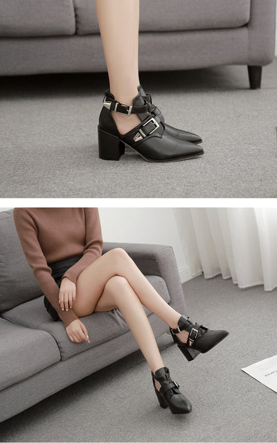Eilyken New Fashion Women Boots Square Low Heels 7.5CM Side Zip Buckle Strap Women Ankle Boots Autumn Shoes size 41 42