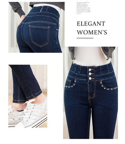 LEIJIJEANS 2019 winter autumn blue high waist stretchy mom jeans with fly button fashion style plus size 5XL 6XL women jeans