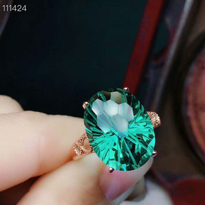 MeiBaPJ Real Natural Green Crystal Gemstone Ring for Women Real 925 Sterling Silver Fine Wedding Jewelry