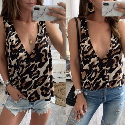 2019 New Women's Ladies Summer Leopard Print Sexy Casual Fashion Tank Tops Vest Blouse Sleeveless Crop Camis Shirt Plus Size