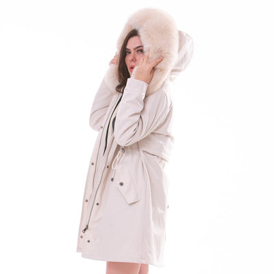 women winter large fur hooded parkas 2020 white winter jacket women natural fur lined thick coat women oversize