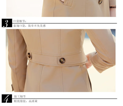 Spring Autumn Trench Coats For Women Slim Wild Medium length Female Windbreaker Coat Double-breasted Tops Casual style