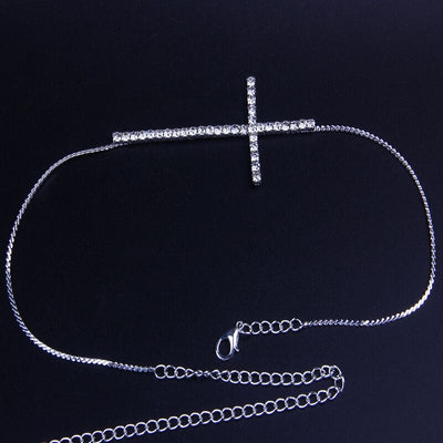 New Design Sexy Cross Crystal Thigh Chain Body Jewelry for Women Rhinestone Body Chain Leg Chain Jewelry Night Club Accessories