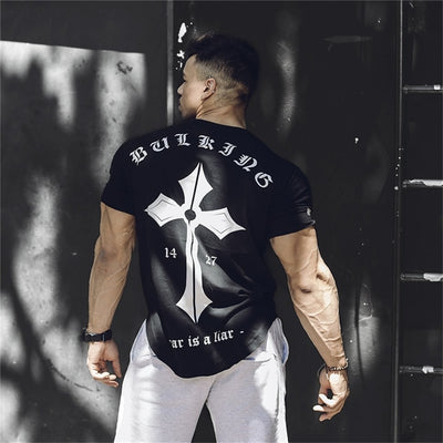 Mens Cotton T-shirt 2019 New Gyms Fitness Workout t shirt Man Summer Casual Fashion Creativity Print Tees Tops M-3XL