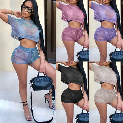 Sexy Women Two Piece Hollow Mesh Sheer Short Sleeve T-shirt Crop Tops Shorts Tracksuit High Waist Lace-up Shorts Jumpsuit Romper