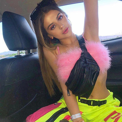 LVINMW Fashion Sexy Spaghetti Straps Pink Feather Crop Top 2019 Women Camisole Sleeveless Tops Party Club Streetwear Camis