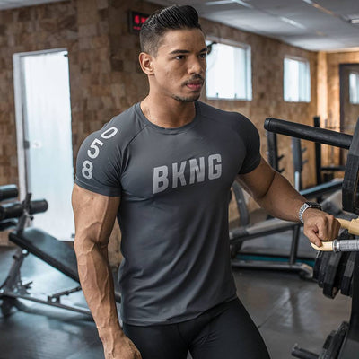 Mens Gyms Fitness Bodybuilding Slim T-shirt Muscle Man Casual Printed T shirts Male Workout Breathable elastic Tees Tops