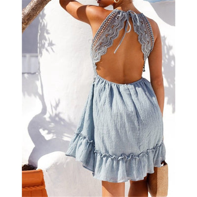 Women Summer Sundress Sexy Backless V-neck Beach Dresses 2019 Sleeveless Spaghetti Strap Spaghetti Strap White Boho Mini Dress