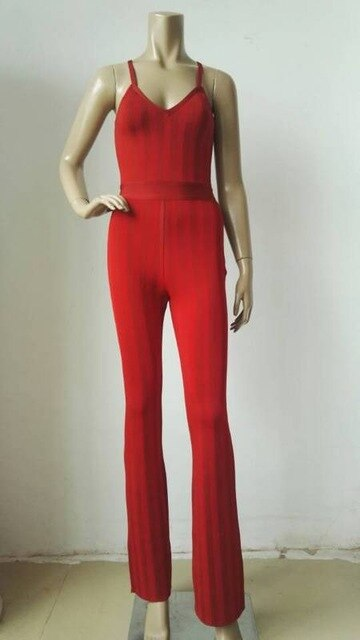 2019 New Winter Women Bandage Jumpsuit Red Striped Spaghetti Strap V Neck Full Length Jumpsuit Rompers Celebrity Party Bodysuit
