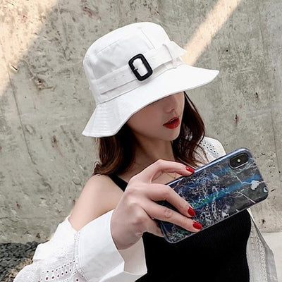 2019 Fisherman Hat Female Summer Wild Temperament Lady Hat Fashion Solid Color Sunscreen Outdoor Hat Student Visor