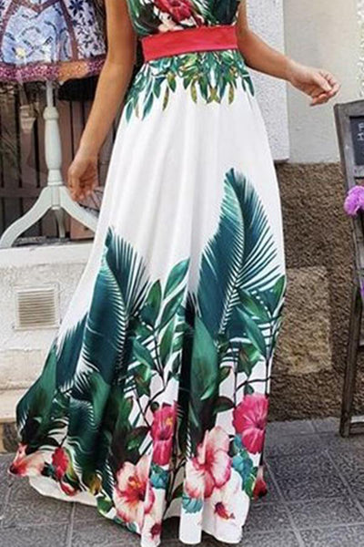 Lady Summer Holiday Floral Beach Boho Maxi V Neck Print Dress Evening Party Sundress