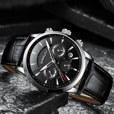 CRRJU New Fashion Men Watches Analog Quartz Wristwatches 30M Waterproof Chronograph Sport Date Leather Band Watches montre homme