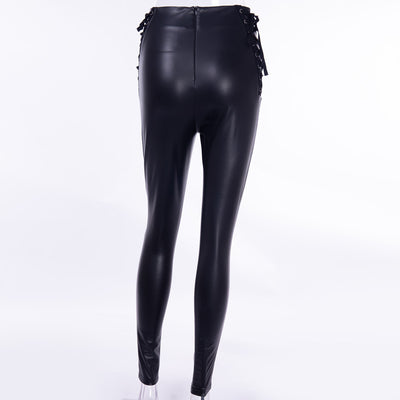 InstaHot Side Lace Up Back Zip Pencil Pants Women Sexy Fleece High Waist Leggings Elastic Autumn Winter PU Faux Leather Pantalon