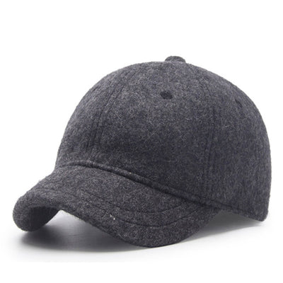 [AETRENDS] Winter Baseball Caps for Men Short Visor Black Wool Felt Cap Men Dad Hat Baseball Cap Russia Hat Z-6586