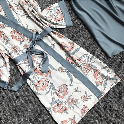 2020 Spring Autumn Women Silk Pajamas Sets With Chest Pads Flower Print Pijama Sleepwear 4 Pieces Spaghetti Strap Satin Pyjamas