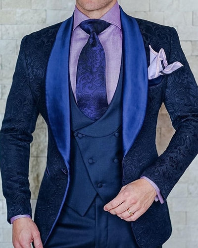 Mens Wedding Suits 2019 Italian Design Custom Made Black Smoking Tuxedo Jacket 3 Piece Groom Terno Suits For Men
