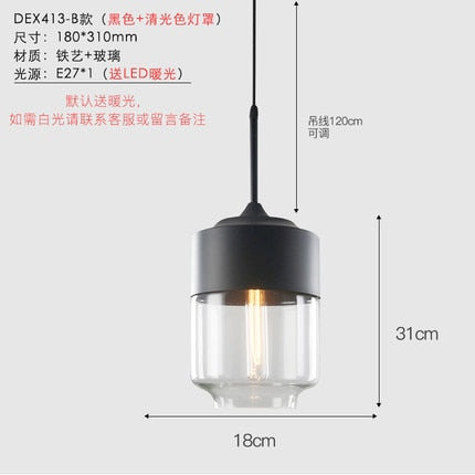 Nordic LOFT Amber/transparent Pendant Lights Glass Lampshade LED Pendant Lamps Dinning Room Home Lighting Kitchen Fixtures Avize