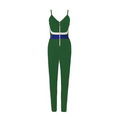 2019 New Women'S Tight Bandage Jumpsuit Sexy Black Blue And White Striped Strap Christmas Jumpsuit Wholesale