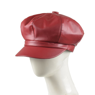 Fashion Octagonal Caps Women Solid Plain Newsboy Hats Vintage Women Solid Color PU Leather Hats Clothing Accessories