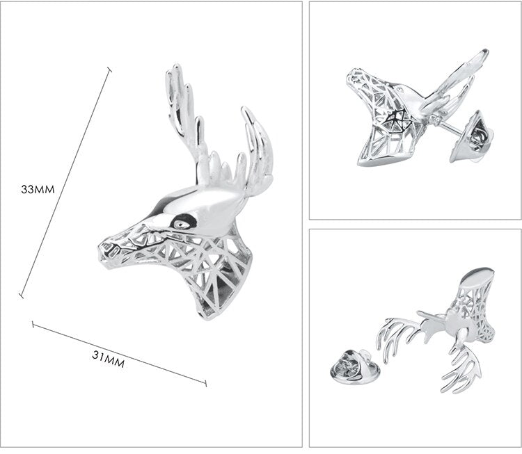 SAVOYSHI Silver Deer Shape Lapel Pin Brooches Pins Fine Gift for Mens Brooches Collar Party Engagement Brand DIY Jewelry Design