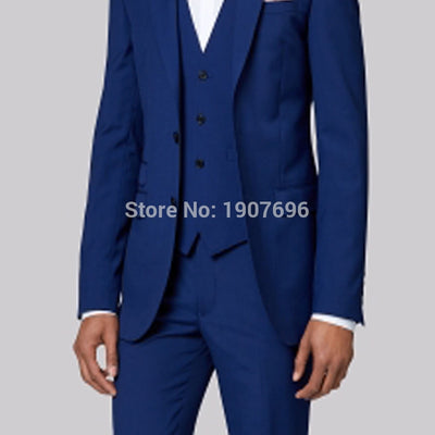 Tailor Made Groom Tuxedos for Wedding Mens Suits Royal Blue Prom Party Stage Costumes 3 Piece Man Suits Set Jacket Pants Vest
