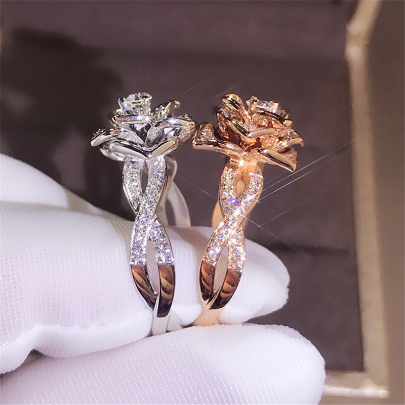 Cute Fashion Big Rose Flower Ring Luxury Female Silver Rose Gold Engagement Ring Vintage Party Wedding Band Rings For Women