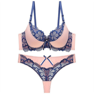 Julexy New 2020 Sexy thong bra set push up Lace hollow out  Brassiere bra and panty set Femme Panties Lingerie Underwear set