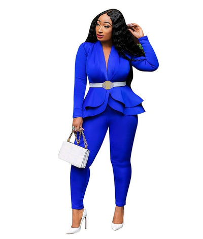 two piece set women office female 2 piece set for women long sleeve suit pants two pieces sets winter women's suits