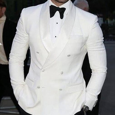 White Slim Fit Mens Suit for Wedding Groom Tuxedos 2019 Prom Party 3 Piece Custom Satin Man Set Jacket Pants Vest Latest Style