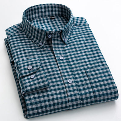 Men's 100% Cotton Brushed Flannel Plaid Checkered Shirt Long Sleeve Standard-fit Comfortable Warm Casual Button-collar Shirts
