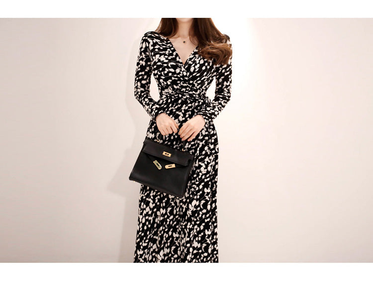 CINESSD Maxi Dress for women Long Sleeve black Elegant floral Print V Neck cotton robe vestidos female casual Loose Boho Dresses