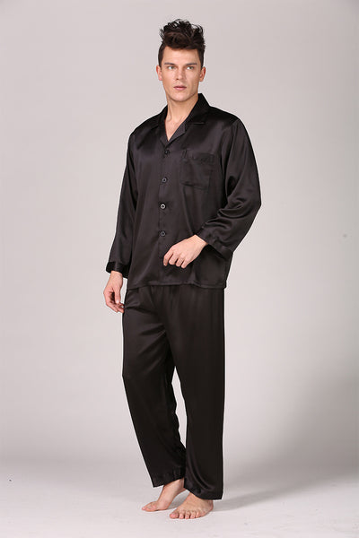Sleepwear Men Black Nightwear Long Sleeve Pajamas Sleeping Suit for Men Housewear Silk Pajamas for Men Sleepwear Mens Pajama Set